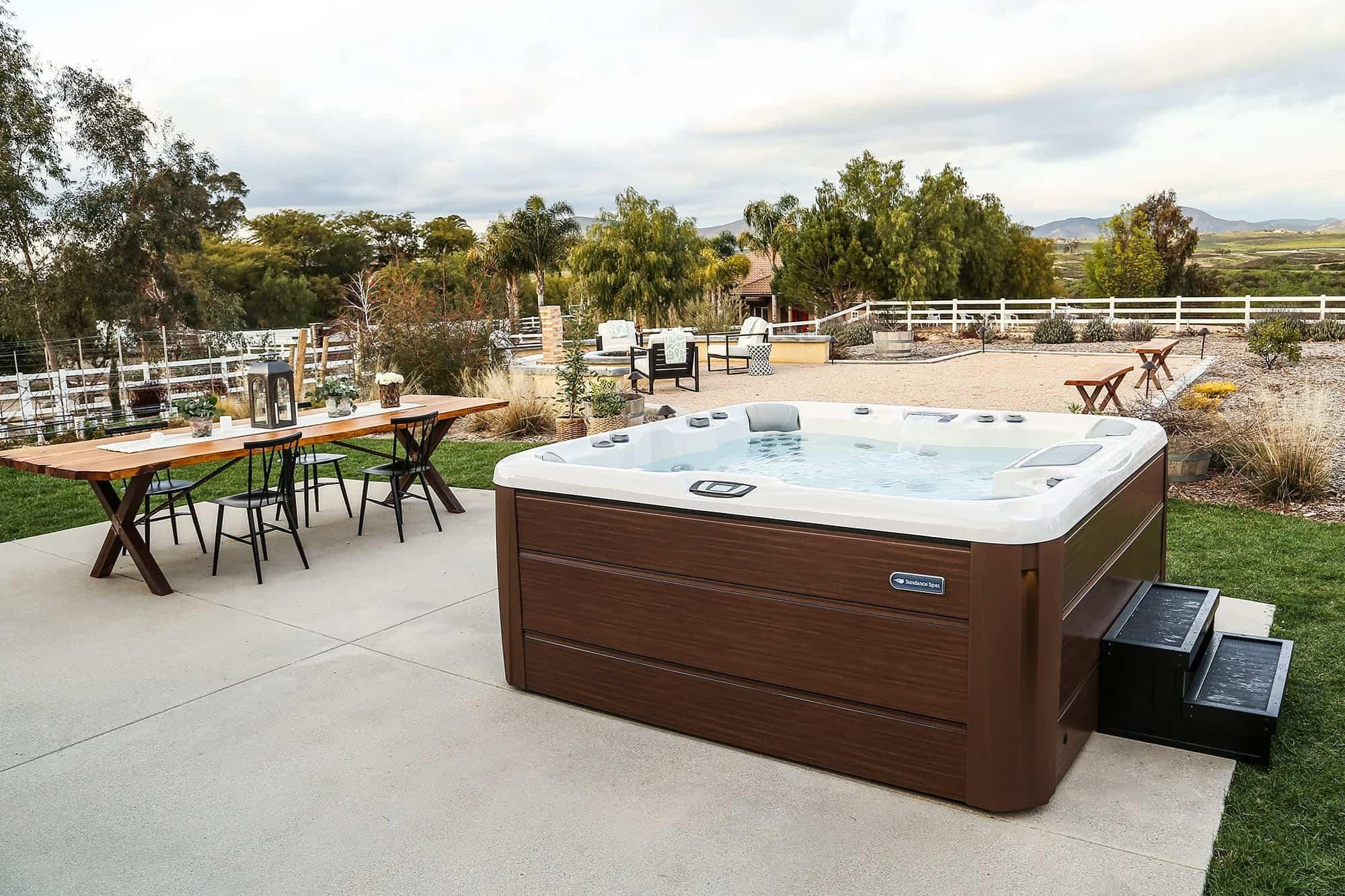Modern Sundance Spa Backyard Setup
