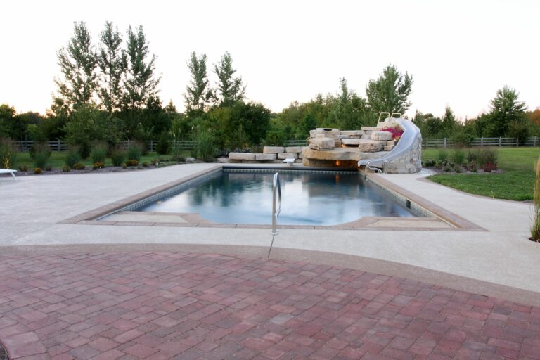 gunite pool with water slide and water fall