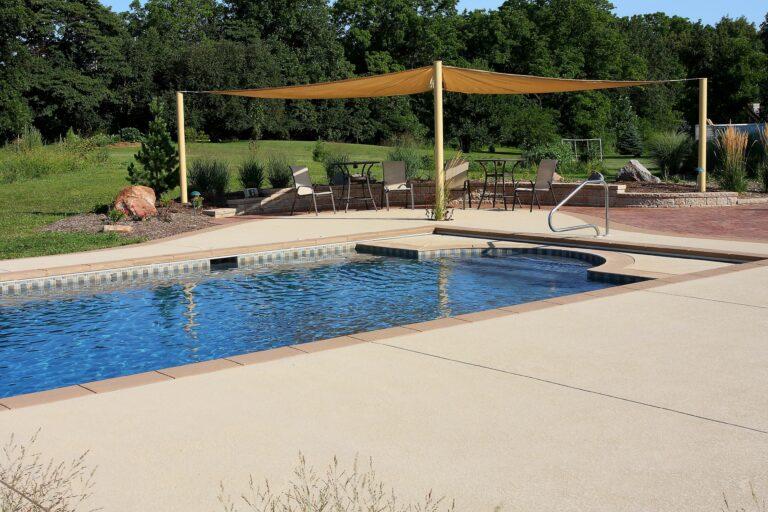 Gunite in ground pool installation in Lafayette Indiana