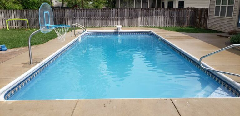 In ground swimming pool instllation in Layfette Indiana